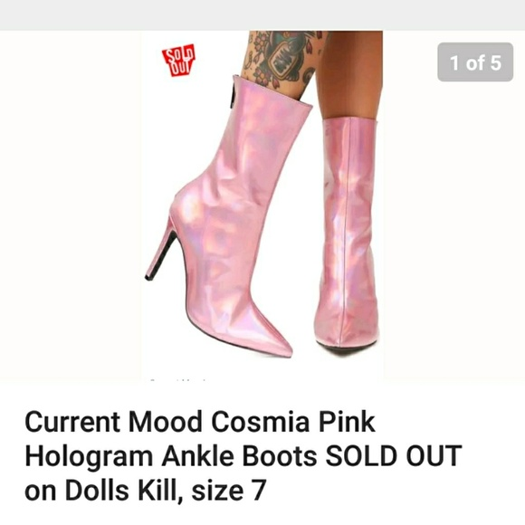 69b696d6c32 Pink holographic ankle boots